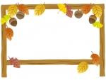 紅葉と看板のフレーム飾り枠イラスト