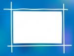ふんわりとした青色系のフレーム飾り枠イラスト