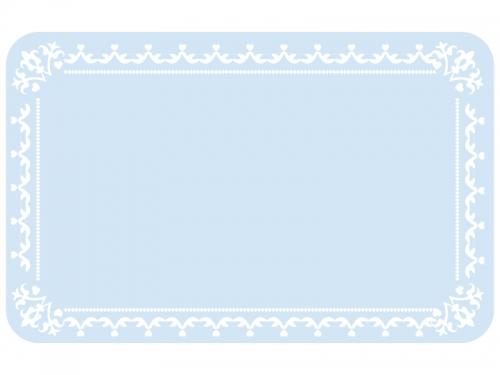 水色のシンプルなレースのフレーム飾り枠イラスト