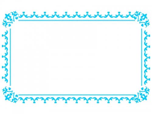 水色のシンプルなレースのフレーム飾り枠イラスト02