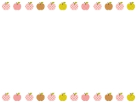 カントリー風柄のりんごの上下フレーム飾り枠イラスト