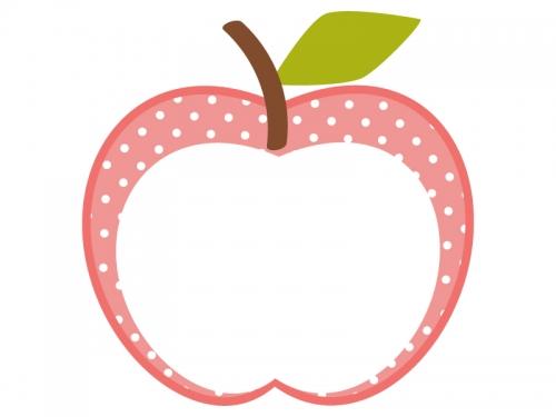 りんごの形(ピンク・水玉模様)のフレーム飾り枠イラスト