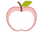 りんごの形(ピンク・チェック模様)のフレーム飾り枠イラスト