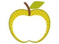 りんごの形(黄緑色・水玉模様)のフレーム飾り枠イラスト
