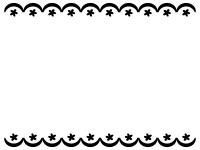 かわいい上下のレースの白黒フレーム飾り枠イラスト