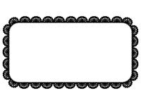 レース編み・ドイリーの白黒飾り枠フレームイラスト