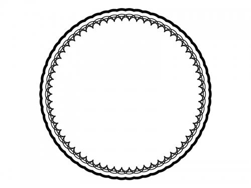 レース編み・ドイリーの白黒飾り枠フレームイラスト04