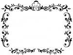 エレガントな白黒のフレーム飾り枠イラスト02