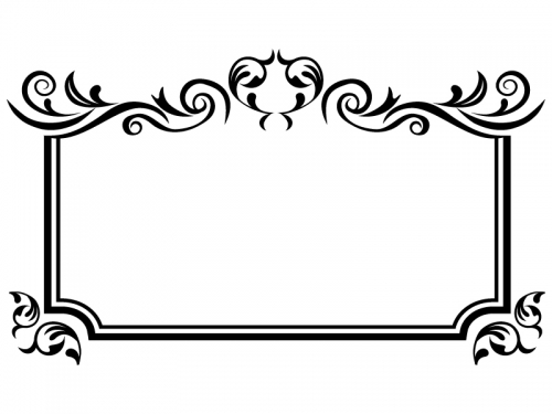 エレガントな白黒のフレーム飾り枠イラスト03