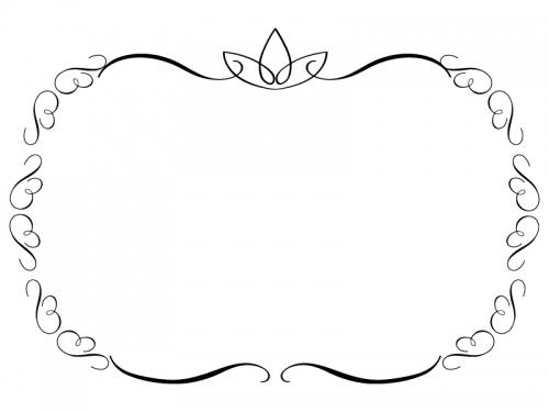 白黒のエレガントなシンプルフレーム飾り枠イラスト02