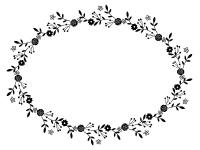 フェミニンな花の白黒フレーム飾り枠イラスト