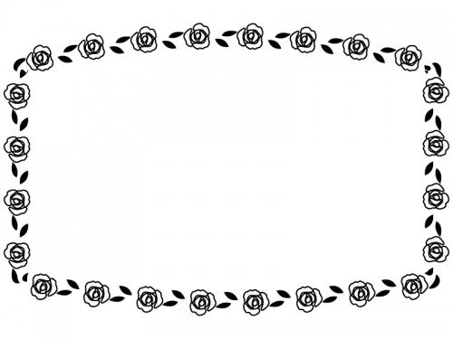 バラの花の白黒フレーム飾り枠イラスト