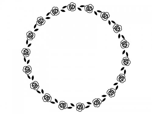 バラの花の円形白黒フレーム飾り枠イラスト