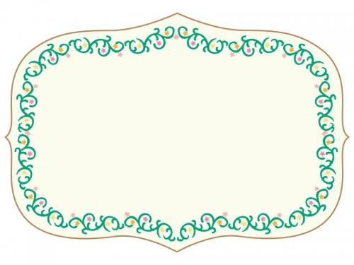 くるくるした蔦と花の囲みフレーム飾り枠イラスト