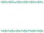 くるくるした蔦と花の上下フレーム飾り枠イラスト