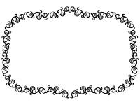 くるくるした蔦と花の囲み白黒フレーム飾り枠イラスト