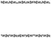 くるくるした蔦と花の上下白黒フレーム飾り枠イラスト