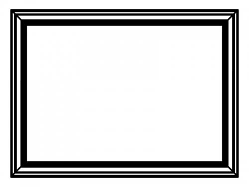 額縁風の白黒フレーム飾り枠イラスト