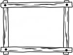 木製の白黒フレーム飾り枠イラスト