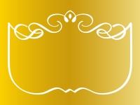 ゴールドのエレガントな飾り曲線のフレーム枠イラスト