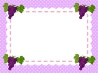 四隅のぶどうの水玉紫色フレーム飾り枠イラスト