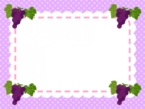 四隅のぶどうの水玉紫色フレーム飾り枠イラスト 無料イラスト かわいい