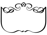 エレガントな飾り曲線の白黒フレーム枠イラスト