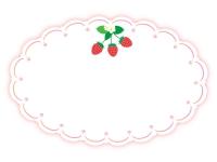いちごのかわいい囲みフレーム飾り枠イラスト02