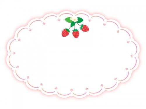 いちごのかわいい囲みフレーム飾り枠イラスト02 無料イラスト かわいい