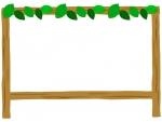 葉っぱと看板のフレーム飾り枠イラスト