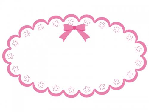 かわいいピンクのリボンのフレーム飾り枠イラスト