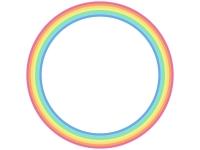 虹色の円形フレーム飾り枠イラスト