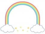 虹のアーチと星のフレーム飾り枠イラスト