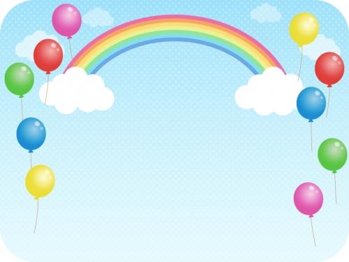 虹と風船と青空のフレーム飾り枠イラスト