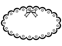かわいい白黒のリボンのフレーム飾り枠イラスト