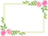 バラ(薔薇)の二重線フレーム飾り枠イラスト