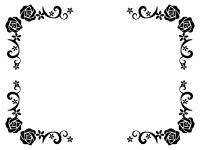 バラと小花の白黒フレーム飾り枠イラスト