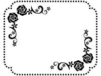 バラと小花の白黒点線フレーム飾り枠イラスト