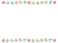 バラ(薔薇)上下フレーム飾り枠イラスト