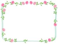 バラ(薔薇)の手書き風フレーム飾り枠イラスト