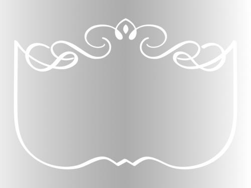 シルバーのエレガントな飾り曲線のフレーム枠イラスト