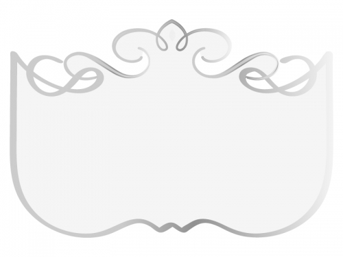 シルバーのエレガントな飾り曲線のフレーム枠イラスト02