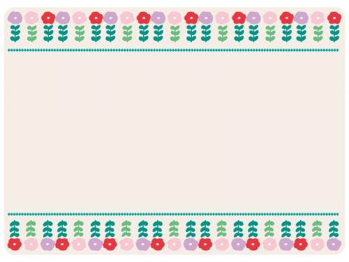 上下のかわいい花のフレーム飾り枠イラスト