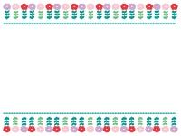 上下のかわいい花のフレーム飾り枠イラスト02