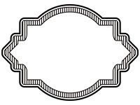 縦線ラベル風白黒デザイン飾り枠フレームイラスト