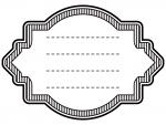 縦線ラベル風白黒デザイン飾り枠フレームイラスト02