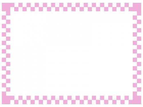 シンプルな市松模様のフレームの飾り枠イラスト02