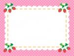 四隅のいちごの水玉ピンク色フレーム飾り枠イラスト