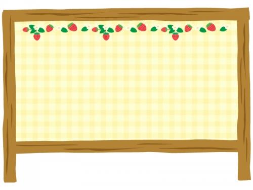 いちごの黄色いチェック看板フレーム飾り枠イラスト