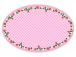 いちごとチェック模様のかわいい囲みフレーム飾り枠イラスト